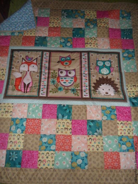 Текстиль, ковры ручной работы. Ярмарка Мастеров - ручная работа. Купить лоскутное одеяло-плед. Handmade. Одеяло для девочки, синтепон