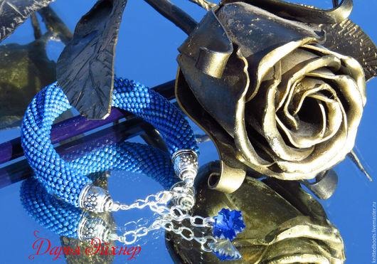 """Браслеты ручной работы. Ярмарка Мастеров - ручная работа. Купить Браслет """"Изящность"""" из бисера. Handmade. Синий, недорогой подарок"""