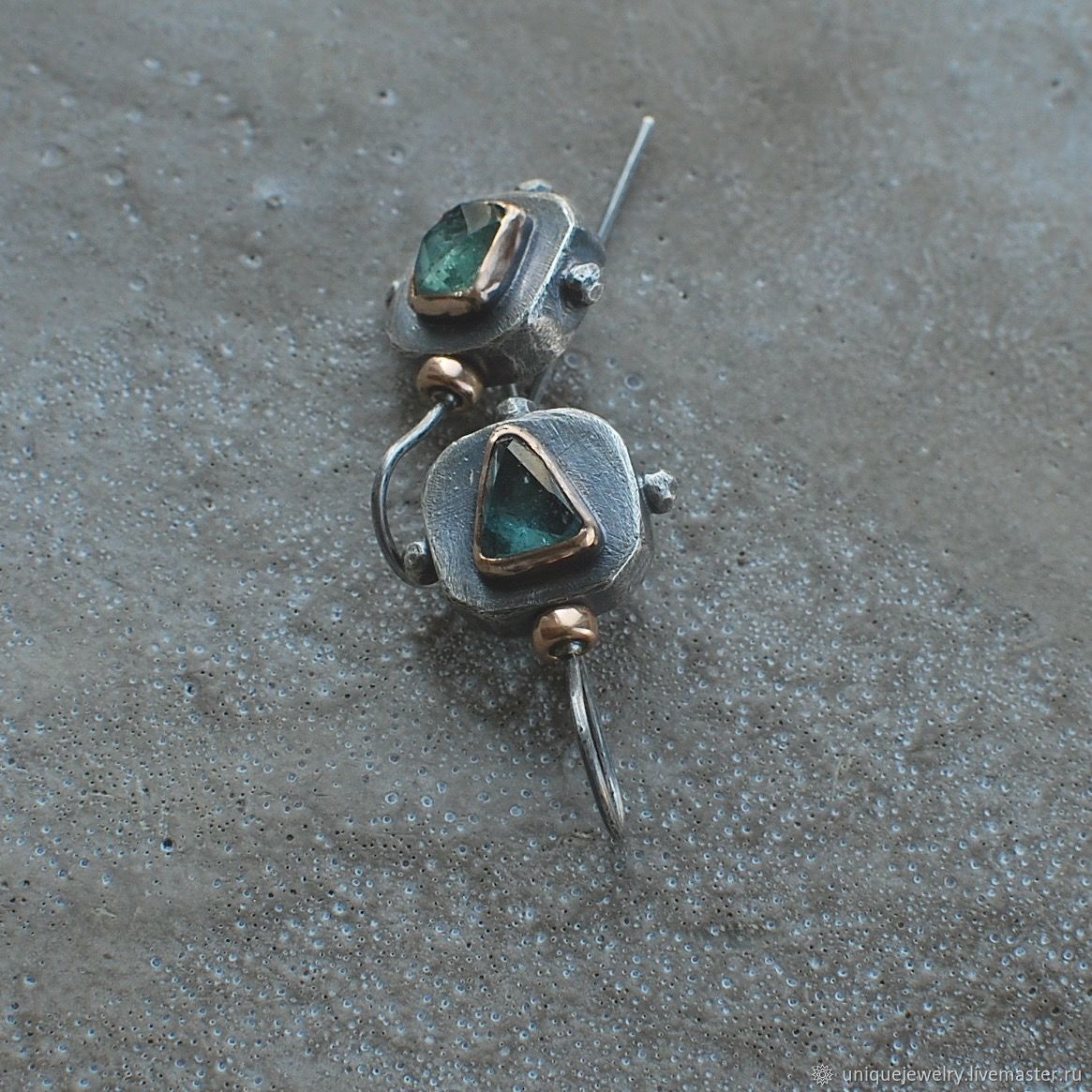 Tourmaline earrings, silver, bronze and Goldfield, Earrings, Moscow,  Фото №1