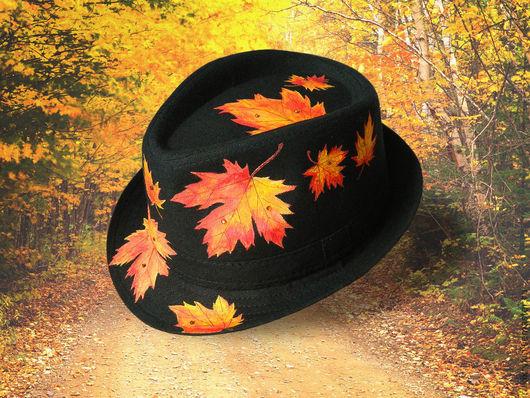 Шляпы ручной работы. Ярмарка Мастеров - ручная работа. Купить Осенний путешественник. Handmade. Черный, клен, приключения, акриловые краски