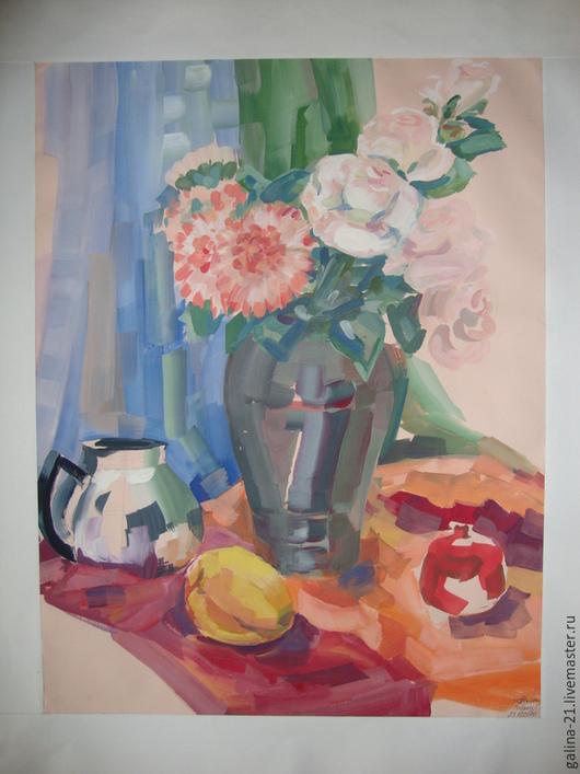 """Натюрморт ручной работы. Ярмарка Мастеров - ручная работа. Купить Натюрморт с цветами """"Розовые розы"""". Handmade. Картина, натюрморт, цветы"""