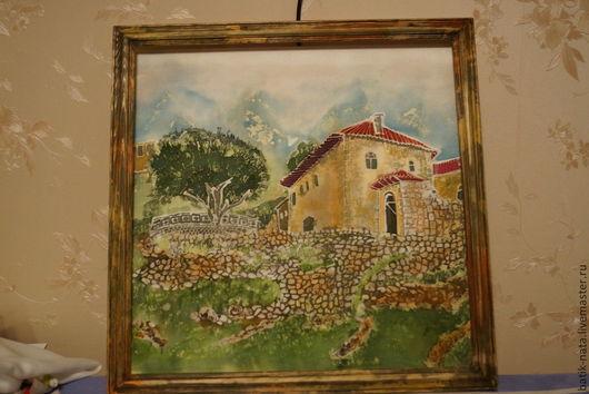 Город ручной работы. Ярмарка Мастеров - ручная работа. Купить Албания, старый город. Handmade. Старый город, батик картина