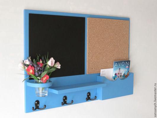 """Мебель ручной работы. Ярмарка Мастеров - ручная работа. Купить Органайзер """"Ливадия"""" в прихожую тёмно-голубого цвета, с гриф. Handmade."""