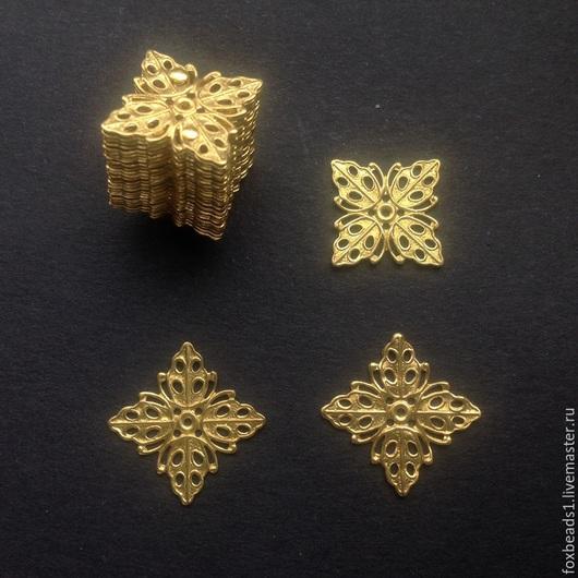 Для украшений ручной работы. Ярмарка Мастеров - ручная работа. Купить 2шт Филигранные основы для украшений из латуни. 13х13х0,5мм. Handmade.