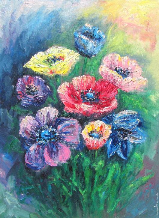 Картина маслом пейзаж `Радужные цветы` Катерины Аксеновой.(Масло,холст,30*40)