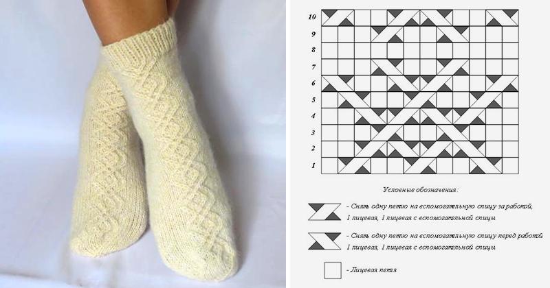 вяжем шерстяные носки на 5 спицах мастер класс для начинающих и