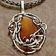 Кулон серебряный с янтарем, шикарное украшение из серебра купить, авторская работа в единственном экземпляре