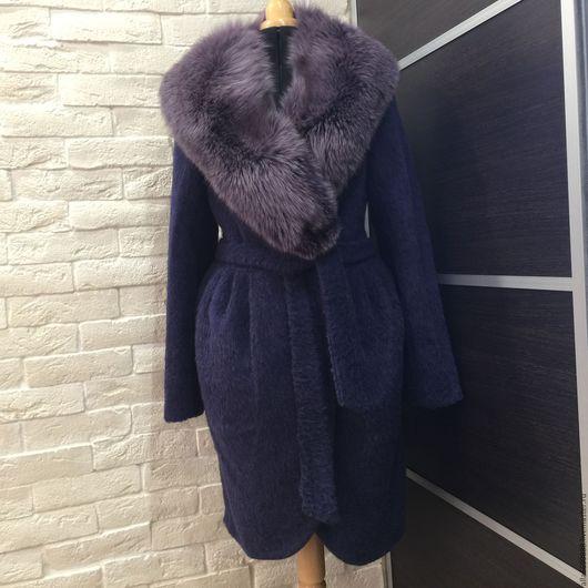 Верхняя одежда ручной работы. Ярмарка Мастеров - ручная работа. Купить Пальто тюльпан из альпаки. Handmade. Синий, зимнее пальто