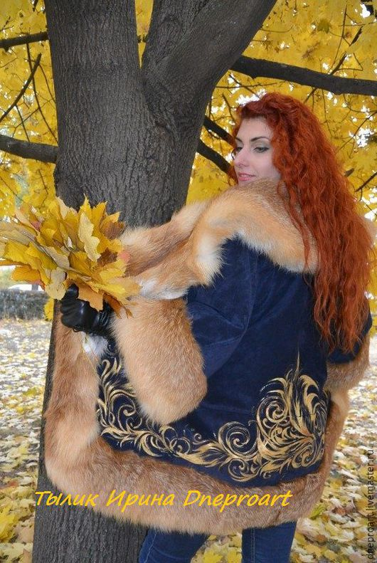 """Верхняя одежда ручной работы. Ярмарка Мастеров - ручная работа. Купить Куртка """"Осенние узоры""""из замши с мехом лисы. Handmade."""