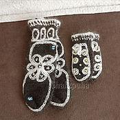 Mittens handmade. Livemaster - original item Deuce knitted wool mittens adults and children, 407. Handmade.
