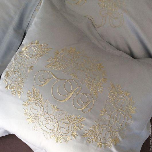 Текстиль, ковры ручной работы. Ярмарка Мастеров - ручная работа. Купить Постельное белье с вышивкой - Приданое невесты -золото на жемчужно-сер. Handmade.