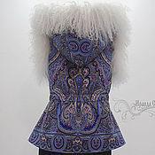 """Одежда ручной работы. Ярмарка Мастеров - ручная работа Жилет с капюшоном """"Испанский-11"""" с  натуральным мехом ламы. Handmade."""