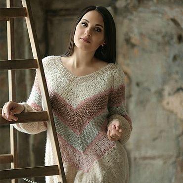 Одежда ручной работы. Ярмарка Мастеров - ручная работа Джемпер вязаный бежевый и розовый ручной работы Пиона. Handmade.