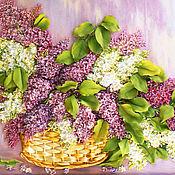 Картины и панно handmade. Livemaster - original item Pattern satin ribbon Lilac morning. Handmade.