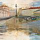 Картина с видом Санкт-Петербурга для интерьера, купить в Москве Архитектурный городской пейзаж `Театральный мост`  © Елена Ануфриева