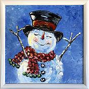 Картины и панно handmade. Livemaster - original item Winter picture with a snowman. Handmade.