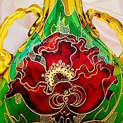 Посуда ручной работы. Ярмарка Мастеров - ручная работа Бутылка Маки, витражная роспись. Handmade.