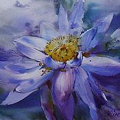 Картины и панно ручной работы. Ярмарка Мастеров - ручная работа акварель Синий цветок. Handmade.