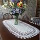 Текстиль, ковры ручной работы. Ярмарка Мастеров - ручная работа. Купить Овальная салфетка-дорожка с ажурной каймой. Handmade. Белый