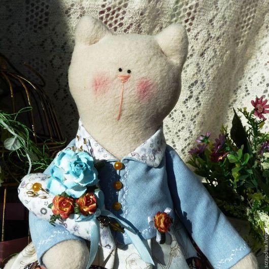 Куклы Тильды ручной работы. Ярмарка Мастеров - ручная работа. Купить Джина, винтажная кошечка. Handmade. Голубой, подарок
