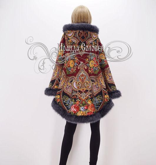 Пальто-накидка с отстегивающимся капюшоном Майя-2 из шерстяных павловопосадских шалей