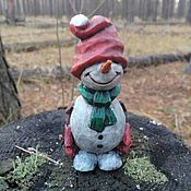 Подарки к праздникам handmade. Livemaster - original item Christmas tree toy wood carved figurine miniature Snowman. Handmade.