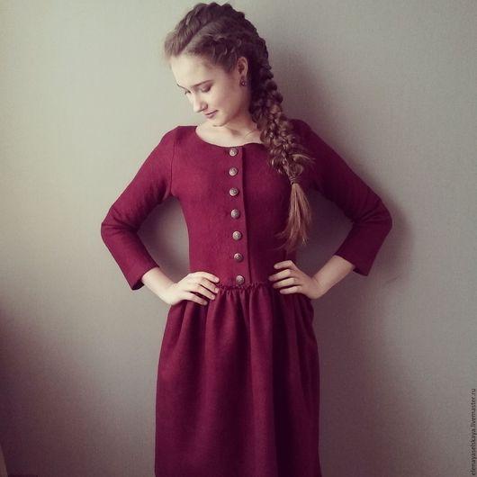 """Платья ручной работы. Ярмарка Мастеров - ручная работа. Купить Платье из шерсти и шелка """"Винное"""". Handmade. Бордовое платье, бордовый"""