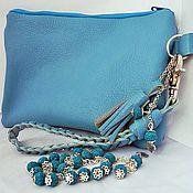 Сумки и аксессуары handmade. Livemaster - original item Leather clutch hand. Blue. bracelet. Handmade.