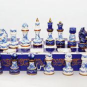 Сувениры и подарки ручной работы. Ярмарка Мастеров - ручная работа шахматы деревянные подарочные Гжель-Северное сияние. Handmade.