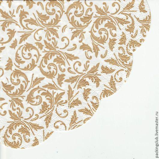 Декупаж и роспись ручной работы. Ярмарка Мастеров - ручная работа. Купить Салфетка круглая Орнамент Арабеска. Handmade. Бежевый