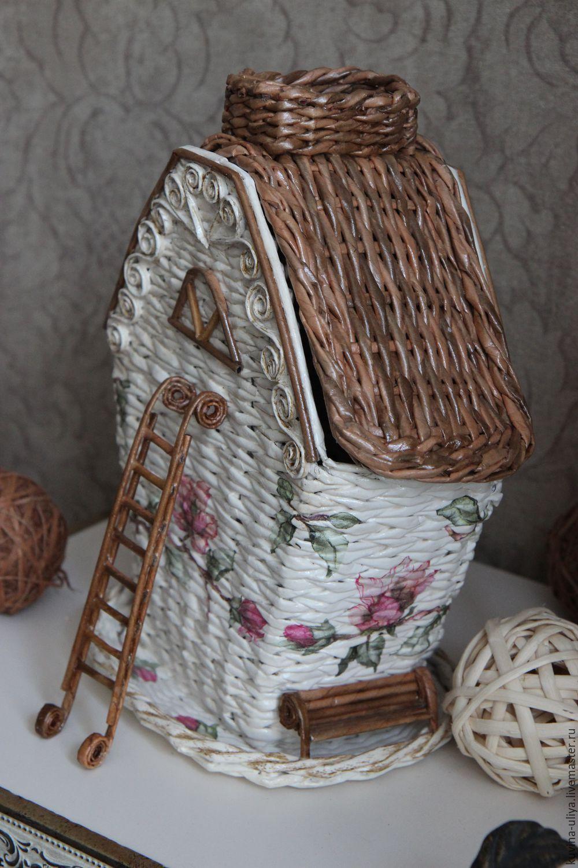 Поделка изделие Плетение Чайный домик Плетение из газет 37