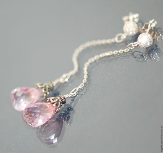 серьги с топазом; серьги розовые; розовые серьги; розовые сережки; купить розовые серьги; купить розовые сережки, серьги цепочки серебро; купить серьги цепочки; подарок для любимой