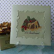 Открытки handmade. Livemaster - original item Cross stitch postcard Christmas cup cakes & Christmas Pudding. Handmade.