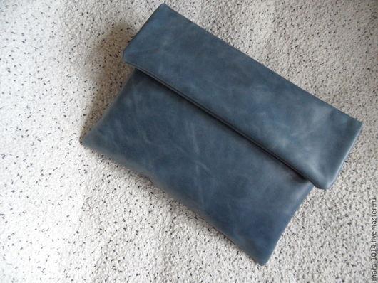 Женские сумки ручной работы. Ярмарка Мастеров - ручная работа. Купить Клатч АГАТА- джинс. Handmade. Серый, натуральная кожа