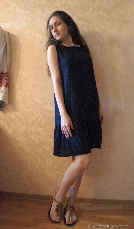 Платье из льна темно-синее без рукавов с оборкой, Платья, Новороссийск,  Фото №1
