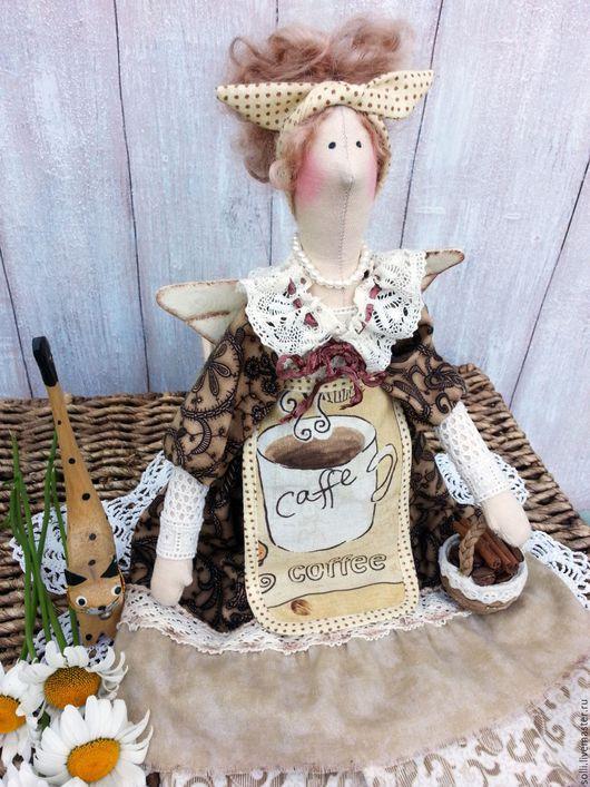 Куклы Тильды ручной работы. Ярмарка Мастеров - ручная работа. Купить Интерьерная куколка в стиле тильда Кофеюшка.. Handmade. Бежевый