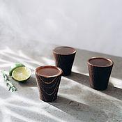 Посуда handmade. Livemaster - original item Set of textured glasses (stacks) made of Siberian pine RN4. Handmade.