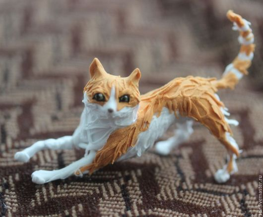 """Игрушки животные, ручной работы. Ярмарка Мастеров - ручная работа. Купить фигурка маленькая """"рыжая кошечка"""" (статуэтка рыжий котёнок). Handmade."""
