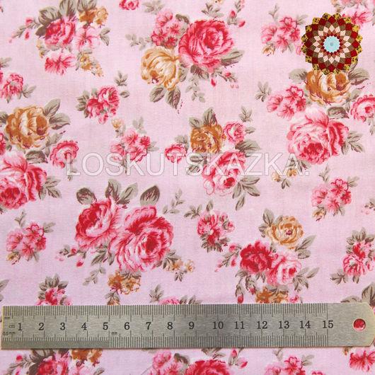 Ткань хлопок `Винтажная роза нежно-розовый`. Код товара: DFS-00079