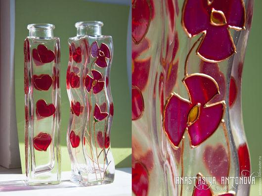 """Вазы ручной работы. Ярмарка Мастеров - ручная работа. Купить Вазы, стекло, """"Любовь и Море"""" роспись по стеклу. Handmade."""