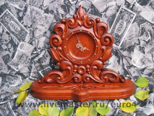 """Часы для дома ручной работы. Ярмарка Мастеров - ручная работа. Купить Часы настольные (каминные) """"Осень"""". Handmade. Рыжий, резьба"""
