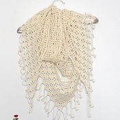 Shawls handmade. Livemaster - original item Scarf shawl cashmere color ivory