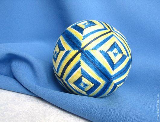 """Темари ручной работы. Ярмарка Мастеров - ручная работа. Купить Темари """"Ромбы"""". Handmade. Шар, сувенир, желто-голубой, синий"""