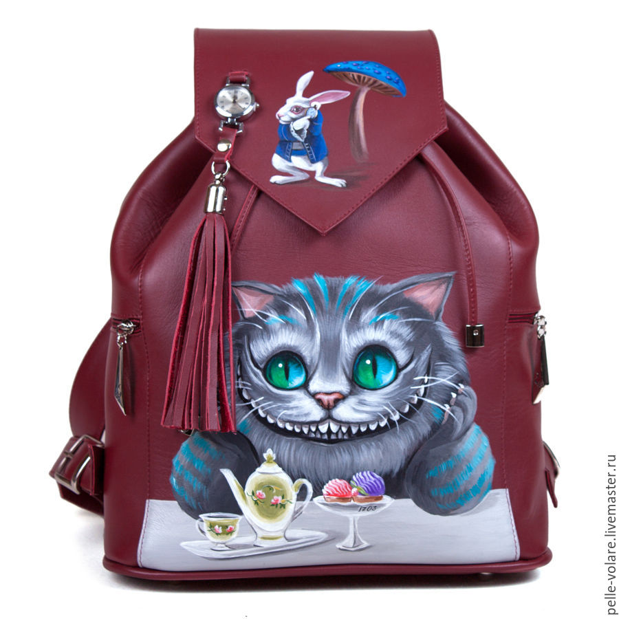 Tea time with Cheshire, robust backpack with adjustable straps.