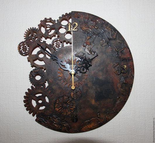 Часы для дома ручной работы. Ярмарка Мастеров - ручная работа. Купить Настенные часы в стиле стимпанк. Handmade. Коричневый, steampunk