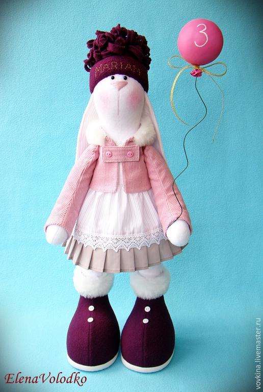 Игрушки животные, ручной работы. Ярмарка Мастеров - ручная работа. Купить Зайка Mariam с воздушным шариком. Handmade. Разноцветный