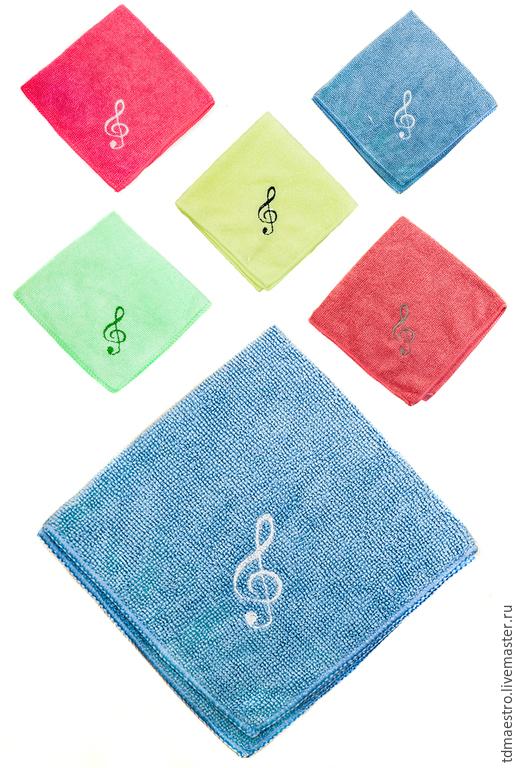 """Текстиль, ковры ручной работы. Ярмарка Мастеров - ручная работа. Купить Вышитая салфетка из микрофибры """"Скрипичный ключ"""". Handmade. Разноцветный"""