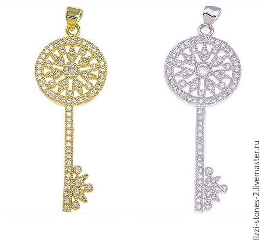 Подвеска ключик серебро и золото (Milano) Евгения (Lizzi-stones-2)