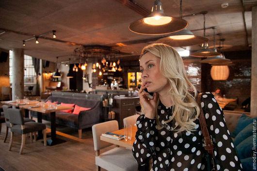 стильная блузка в горошек, блузка в горох гороховый принт шелковая блузка шифоновая блузка женская красивая блузка черно-белый
