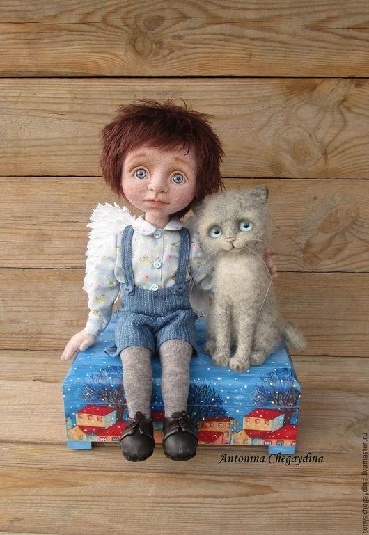 Коллекционные куклы ручной работы. Ярмарка Мастеров - ручная работа. Купить Ангел -хранитель.. Handmade. Голубой, мальчик, кукла из шерсти